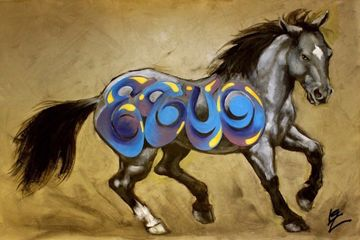 graffiti, horse, art, original art, blue, brown, black, equine art, iron horse art, painting 4 sale