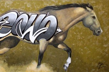 graffiti, horse, art, equine art, original art, buckskin, yellow, black, iron horse art