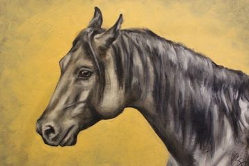 horse, art, equine, yellow, black, grey, painting, original art