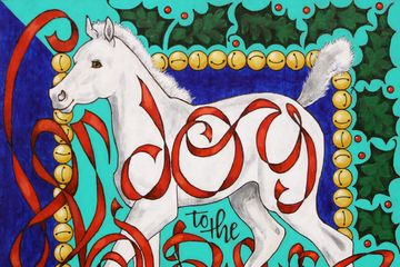 christmas, horse, art, white, colt, graffiti, joy to the world, green, blue, red, equine art