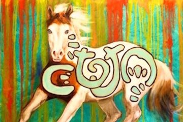 graffiti horse, iron horse art, equine art, horse art, original art, painting, paintings for sale