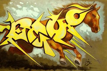 graffiti horse, horse art, equine art, iron horse art, paintings for sale, yellow, green