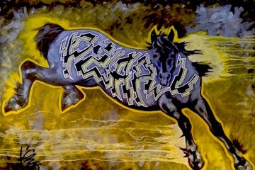 wild style, graffiti, horse, art, equine, original art, iron horse, lightning, yellow, black, storm