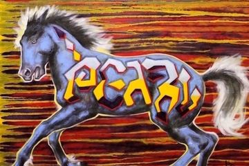 graffiti horse, iron horse art, equine art, horse art, original art, paintings for sale, painting