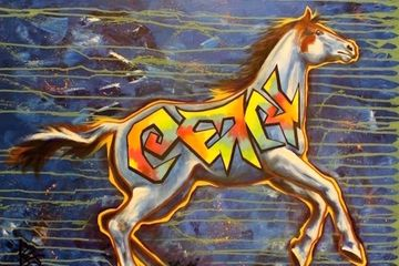graffiti, horse, art, equine, original art, iron horse art, blue, rainbow, medicine hat, painting