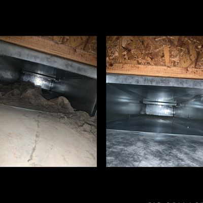 Before and after air duct cleaning!