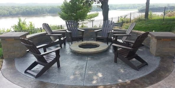 Stamped patio with fire pit, Woodbury