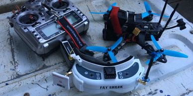 one of our fpv earbuds being used with fatshark goggles