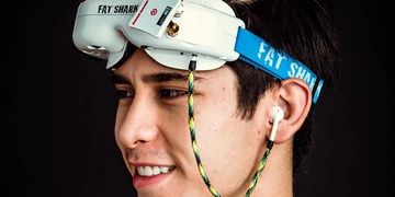Fatshark goggles with single earbud.