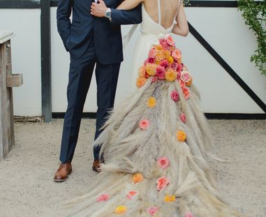 Floral Train, Bridal Dress Train, Bride Train, Dahlia Train, Garden Rose Train, Pampas Grass Train