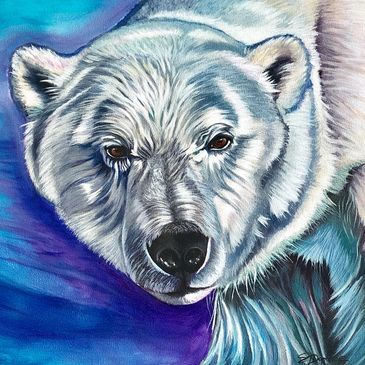 "Modern Wildlife Acrylic Painting ""A Brighter World"" by Canadian Artist Stephanie Dopheide"