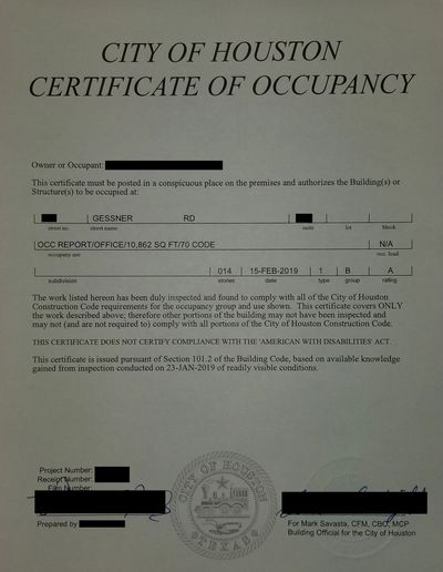 City of Houston Certificate of Occupancy also known as a Houston Occupancy Permit.