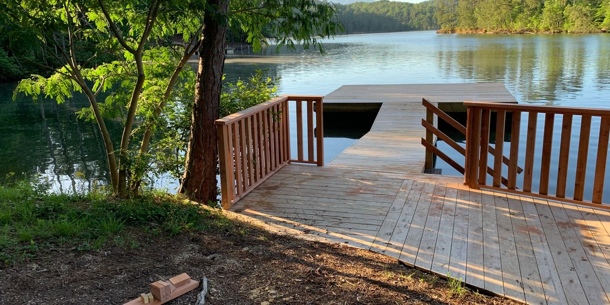 floating dock, red wood rail, pressure treated decking Cleveland