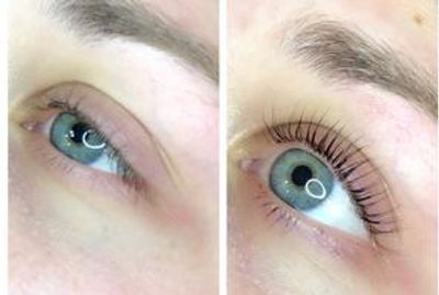 Lash lift before and after picture