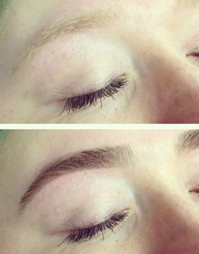 Eyebrows tinting before and after