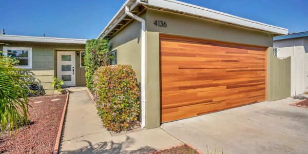 San Diego House with wood garage