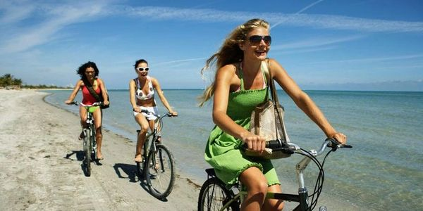 Riding bikes on beach