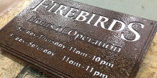 Firebirds, engraving, signage, metal, products, construction, fabrication