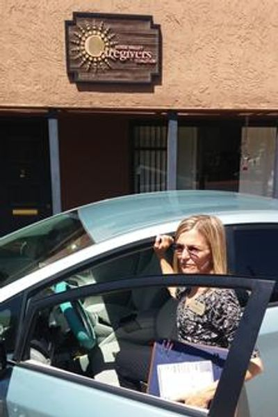VVCC Care Coordinator Laura Bambusch on her way to help an older adult client.