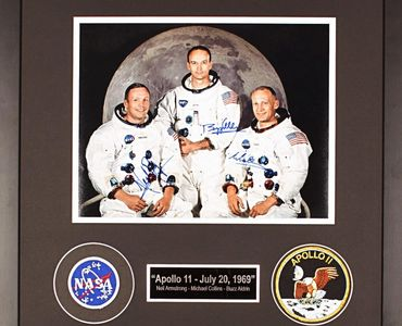 Framed and authenticated autographed photo of the Apollo 11 Crew.