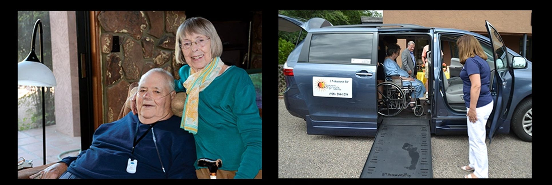 Left: Elderly couple with medical alert from VVCC. Right: Wheelchair accessible van.