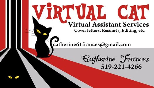 VIRTUAL CAT Virtual Assistant Services Cover Letters, Resumes, Editing etc. Black Cat logo