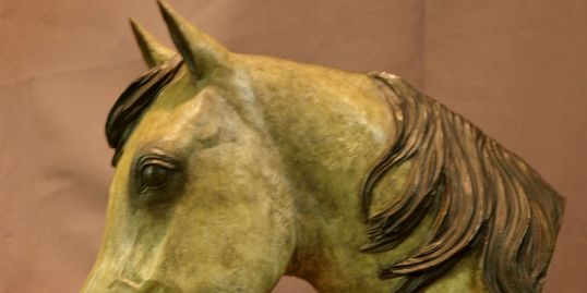 Bronze horse with gray patina