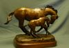 """Euphoria!"" Bronze horse statue of mare and foal."