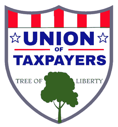 Symbol of the Union of Taxpayer. Shield is for protecting taxpayer rights. Red vertical bars is for