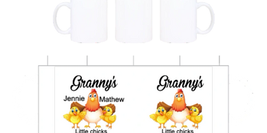 Granny's  little chicks on a coffee cup