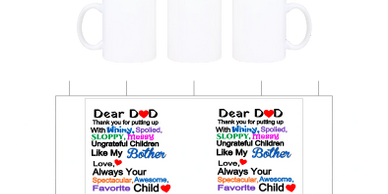 Dear Dad love always on a coffee cup