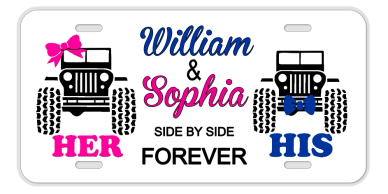 His and Hers forever on a Custom License plates