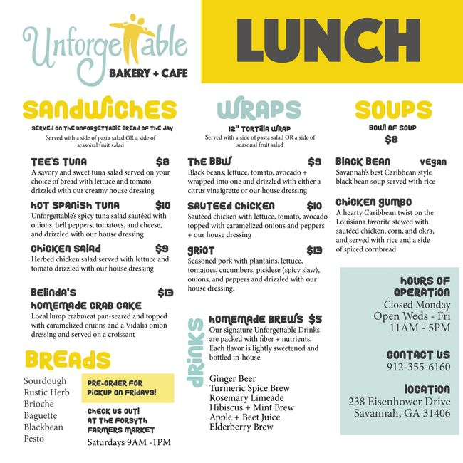 Unforgettable Bakery Lunch Menu Sandwiches Wraps Soups Breads Drinks