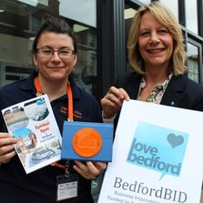 Alice Gadney and Christina Rowe presenting Symbol Spot Bedford