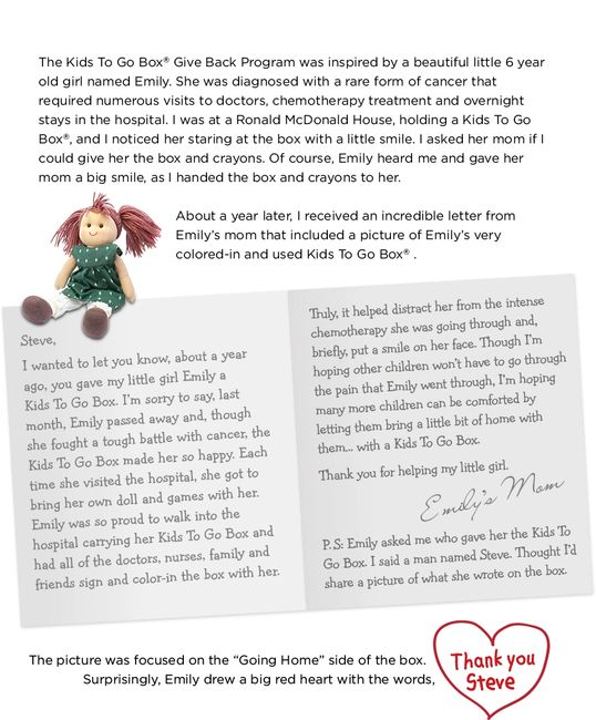 "Kids To Go Box® ""EMILY'S STORY"""