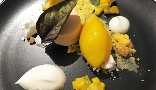 Summer explosion  - One of Perth Chef Hires dessert menu options. Mango, coconut, yoghurt and lime