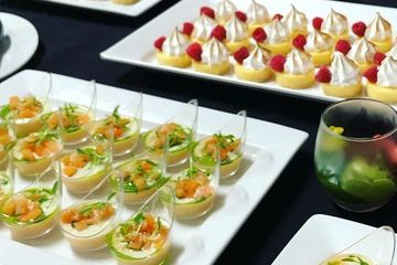 Dessert canape catering for large home parties and events in Perth. Grapefruit curd pannacotta