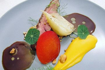 Private Home Chef Hire and Catering Perth. Rendered duck, spiced honey lavender, nectarine and jus