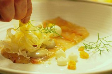 Hire a Chef for a fancy dinner or birthday party. Snapper cured in fennel, orange and honey