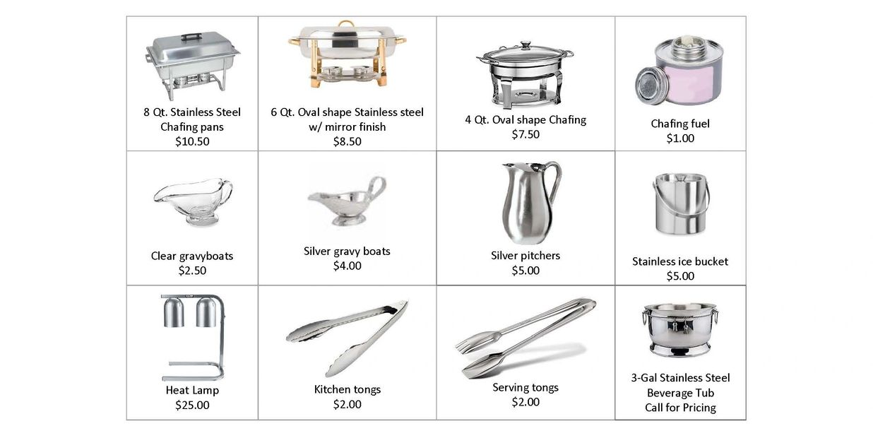 Catering, chafing dishes, ice bucket, serving tongs, heat lamp, beverage and gravy bowls