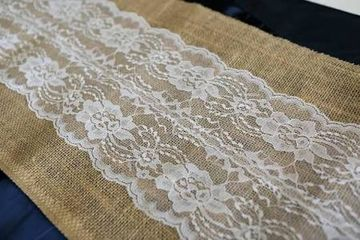 Vintage Hessian & Lace Table Cover Hire