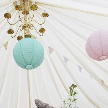 Hertfordshire venue styling paper lanterns bunting hire party planning