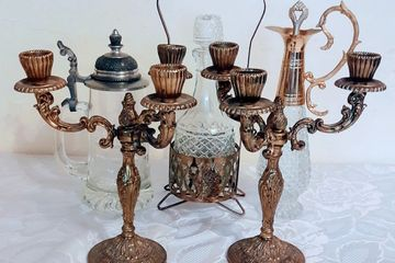 Herts Vintage Party Styling Hire Brass Candlesticks Crystal Decanters