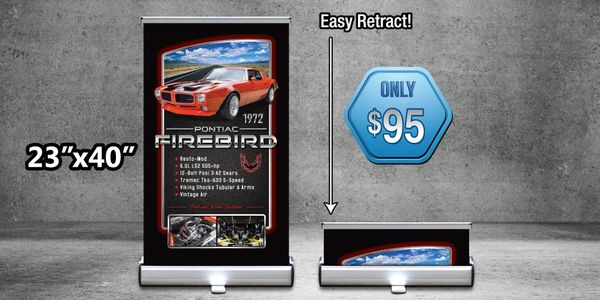 Retractable car show banner stand. Fade resistant materials. High quality prints. comes with case!