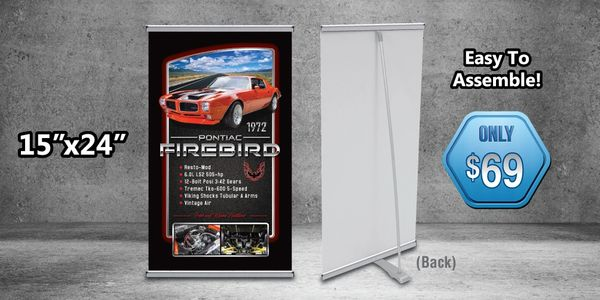 Car show L-Banner stand! Easy to assemble. Fade resistant materials! Convenient size. Includes case