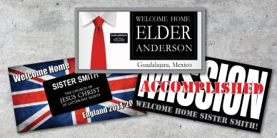 Personalized missionary banners, welcome home and farewell banners. Next day service.