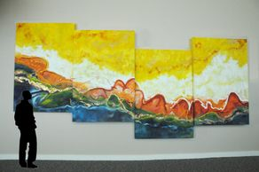 "oil on canvas in four panels 96"" x 192"""