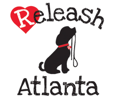 Black dog holding a leash on white background with the word Releash above the dog and Atlanta below.