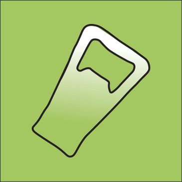 Bottle opener outline on green background