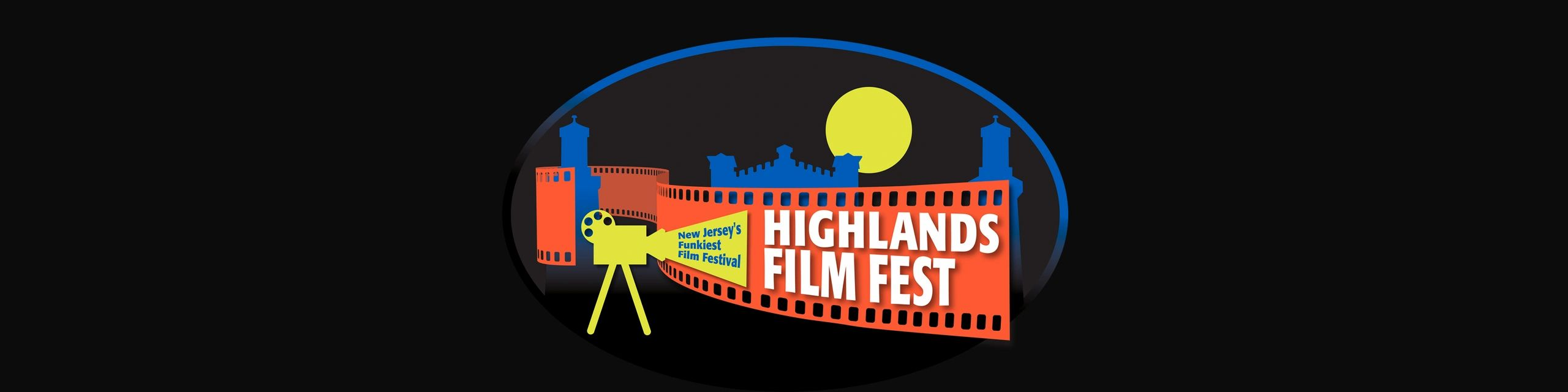 Highlands Film Fest official logo incorporating the Navesink Twin Lights Lighthouse